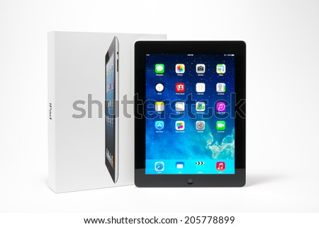 Manila,Philippines - July 17, 2014: Apple Ipad 4th generation (Retina Display) with with iOS 7 home screen. iOS 7 new operation system from Apple Inc.It was released on September 18, 2013. - stock photo