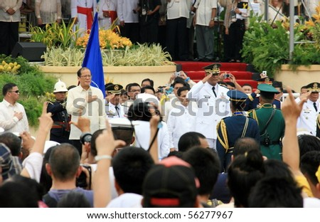 MANILA, PHILIPPINES - JUNE 30: Turn over of power in The Inauguration of President Benigno Aquino III on June 30, 2010 in Manila. President Aquino will be the 15th president of the Philippines