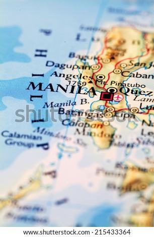 Manila Philippines On Atlas World Map Stock Photo (Edit Now ...