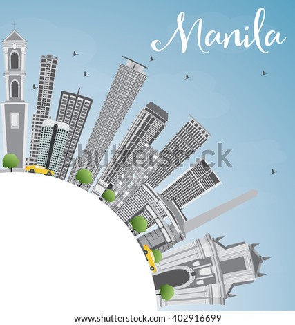 Manila Skyline with Gray Buildings and Blue Sky. Business Travel and Tourism Concept with Copy Space. Image for Presentation Banner Placard and Web Site.