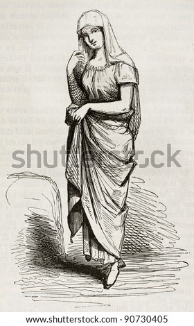 Manila woman old engraved portrait. By unidentified author published on Magasin Pittoresque, Paris, 1844 - stock photo