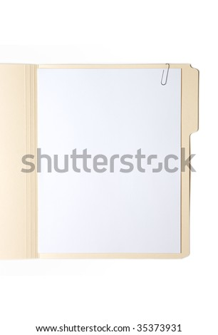 Manilla Folder with Paper and Clip - stock photo