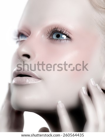 Manipulated image representing a female robot.  - stock photo