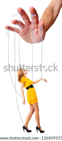 Manipulation , concept image , isolated on a white background. - stock photo