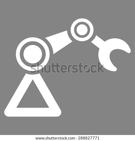 Manipulator icon from Business Bicolor Set. This flat raster symbol uses white color, rounded angles, and isolated on a gray background. - stock photo