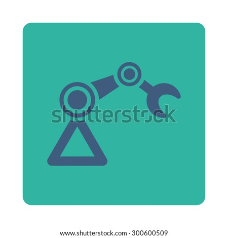 Manipulator icon. This flat rounded square button uses cobalt and cyan colors and isolated on a white background. - stock photo
