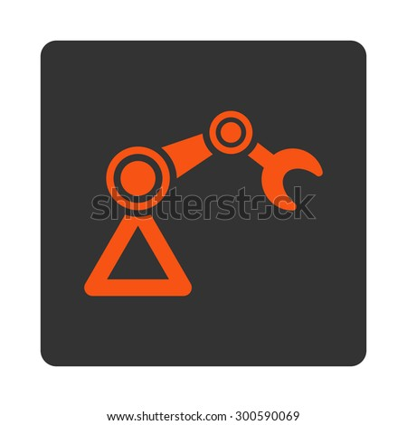 Manipulator icon. This flat rounded square button uses orange and gray colors and isolated on a white background. - stock photo