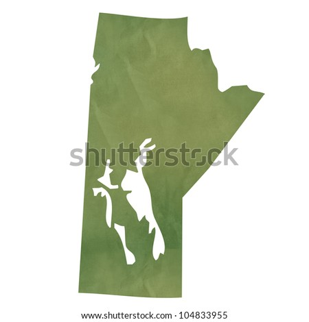 Manitoba province of Canada map in old green paper isolated on white background. - stock photo