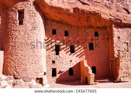 Manitou Cliff Dwellings near Manitou Springs, Colorado / Cliff Dwellings - stock photo