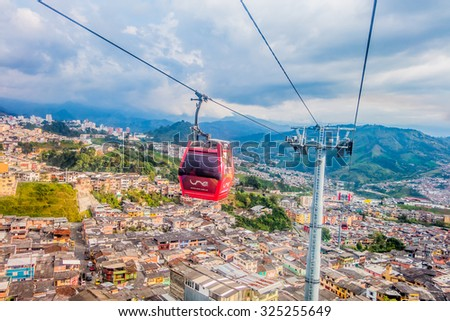 MANIZALES, COLOMBIA - FEBRUARY 23, 2015: Cable car, touristic attraction in Manizles - stock photo