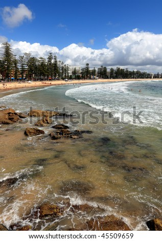 Manly Beach from South Steyne, Sydney during Summer. - stock photo