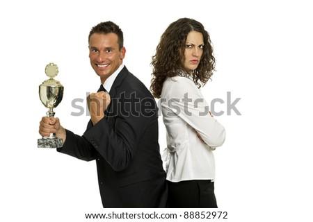 Mann gegen Frau - stock photo
