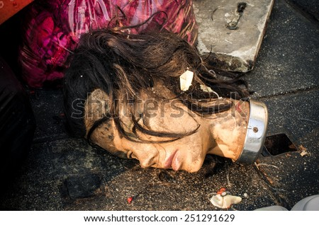 Mannequin doll head was left in a garbage dump. Close up view / Head of dirty mannequin Doll/ Dirty mannequin doll head was left in a garbage dump (doll, mannequin, garbage) - stock photo