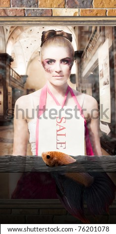 Mannequin Doll Wearing Shopping Price Tag Stands By A Shop Front Window With The Outside Flooded With Water In A Water Damage Sale Or Liquidation Sales Concept - stock photo