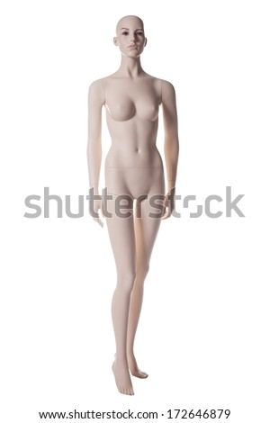mannequin female isolated on white background - stock photo
