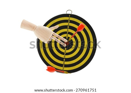 Mannequin Fingers pointing to bulls eye on yellow and black target dart board isolated on white background