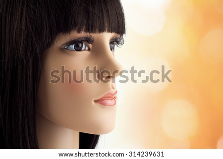 mannequin head fake with wig - stock photo