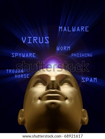 Mannequin head in a blue vortex of cyber attack terms - stock photo