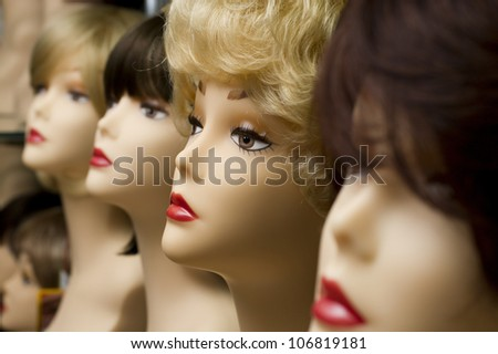 mannequin head in wigs - stock photo