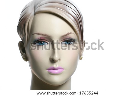 mannequin head isolated on white - stock photo