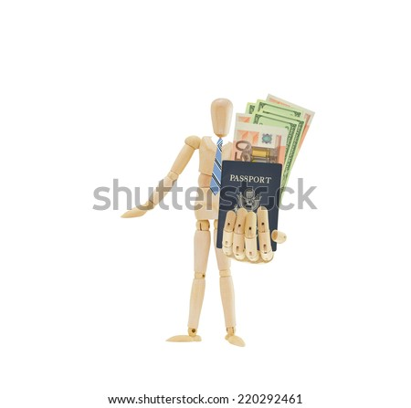 Mannequin holding out US passport with fifty Euro currency and one hundred dollars US money wearing blue striped tie isolated on white background