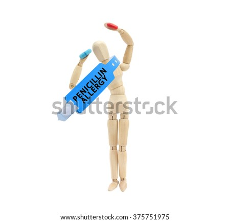 Mannequin holding red and blue prescription pill Penicillin Allergy Bracelet hung around neck isolated on white background - stock photo
