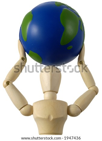 Mannequin holding the world over his head
