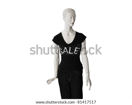 Mannequin in a Black For Sale top isolated on white with cutting path. - stock photo