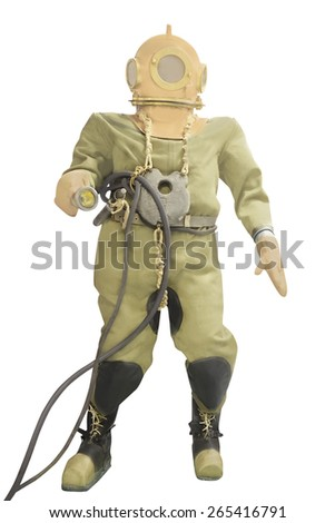 Mannequin is dressed in a diving suit with a round copper helmet and a cargo on a breast