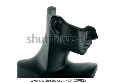 Mannequin Jewelry earrings black right. White background - stock photo