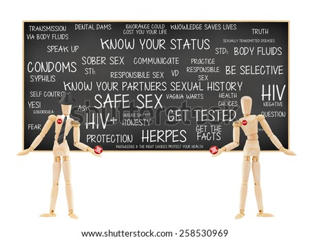 Mannequin Male Female Tested and Know your status button. Blackboard Condoms, HIV positive, Responsible, Be Selective, Self Control, Speak, Honesty, Truth, Question, Protection,Communicate, Knowledge - stock photo