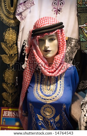 Mannequin on the market in the old city of Jerusalem. - stock photo