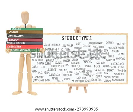 Mannequin school books: Stereotype Dry Erase Board on Easel (Nerd, Cutter, Metrosexual, Wall Flower, Geek, Pothead, Snob, Thug, Ghetto, Outcast, Acid Head, Social Deviant, Tranny, Artsy, Skater) - stock photo