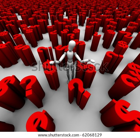 Mannequin standing in a sea of red dollar symbols and question marks