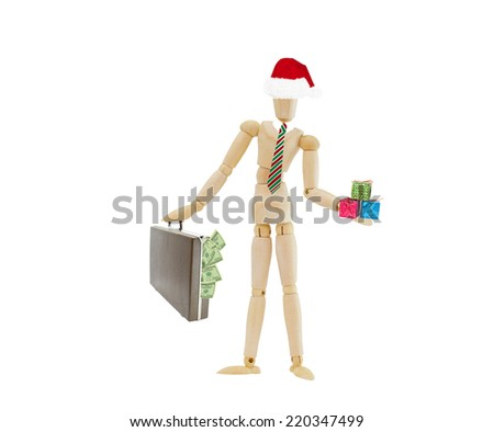 Mannequin wearing Santa Hat and Christmas colored tie holding gifts and briefcase filled with one hundred dollars US currency money isolated on white background - stock photo