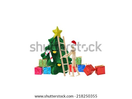Mannequin wearing santa hat with ladder christmas tree gifts isolated on white background