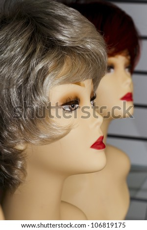 mannequin with a wig - stock photo