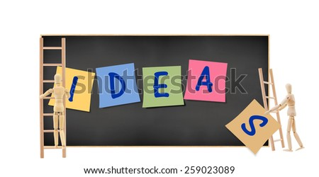 Mannequins collaborating climbing Ideas Post it notes Blackboard isolated on white background