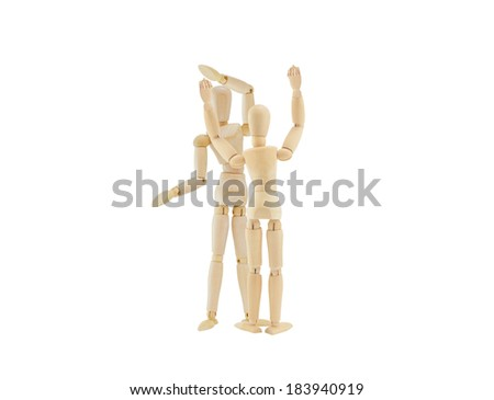 Mannequins giving High Five Hand Shake isolated on white background - stock photo