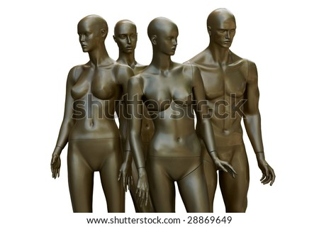Mannequins of future for background and for different uses - stock photo