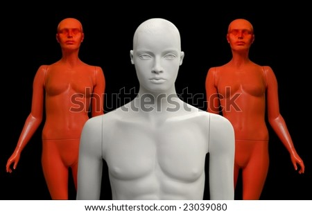 Mannequins on black background. - stock photo