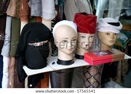 Mannequins on the market in the old city of Jerusalem. - stock photo