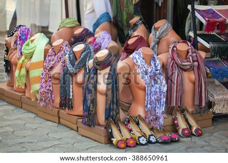 Mannequins with scarves  - stock photo