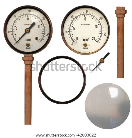 Manometer also known as steam or vaccum gauge, instrument for pressure measurement - stock photo