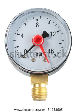 Manometer. Close-up. Isolated on white background. - stock photo