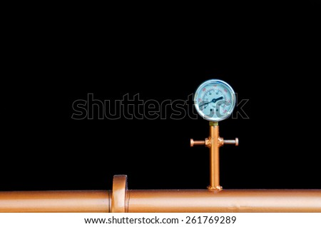 Manometer equipment of brewery and black background. - stock photo