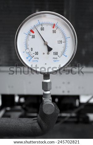 manometer for air control in factory - stock photo