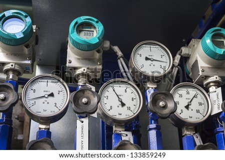 Manometer in power station - stock photo