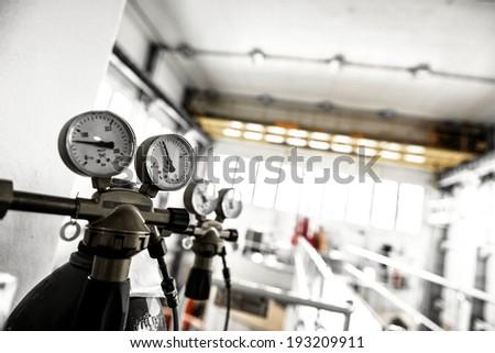 Manometer of an air compressor closeup photo - stock photo