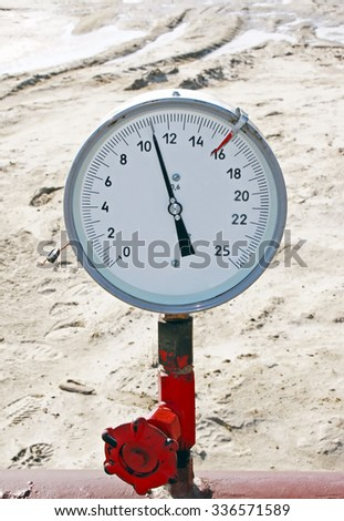 Manometer on a gas pipeline. Controlling gas flow. Gas pumping - stock photo